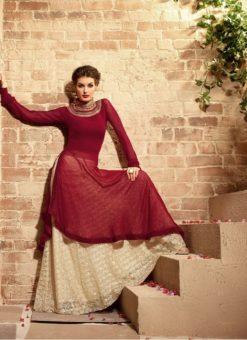 Maroon Georgette Designer Party Wear Pakistani Salwar Kameez