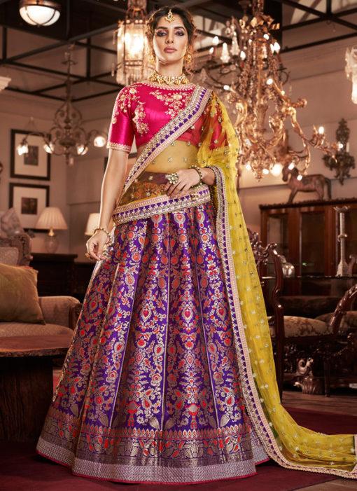 Purple Silk Embroidered Work Designer Lehenga Choli