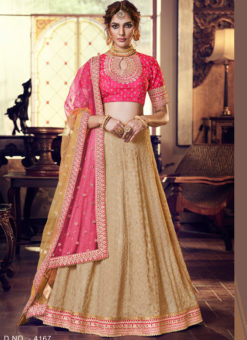Beige Georgette Embroidered Work Designer Lehenga Choli