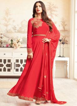 Red Art Silk Sonal Chauhan Abaya Style Designer Anarkali Suit
