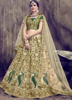 Green Silk Embroidered Work Designer Lehenga Choli Shuhaani