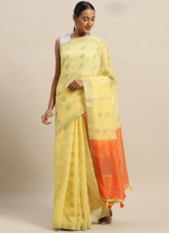 Lemon Yellow Linen Party Wear Saree