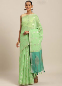 Green Linen Party Wear Saree