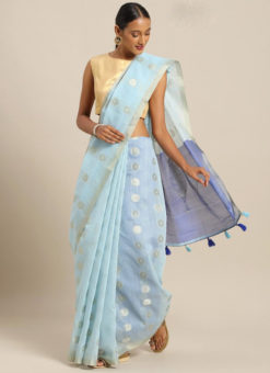 Sky Blue Linen Party Wear Saree