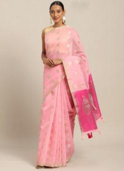 Pink Linen Party Wear Saree