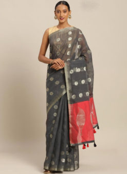 Black Linen Party Wear Saree
