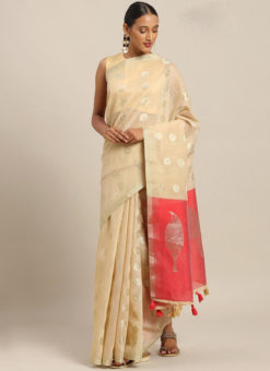 Peach Linen Party Wear Saree