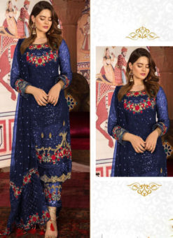 Adorn Blue Georgette Embroidered Work Designer Pakistani Suit