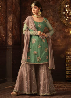 Green Net Embroidered Work Party Wear Designer Sharara Suit