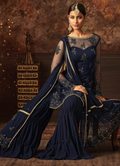 Blue Net Embroidered Work Designer Party Wear Sharara Suit