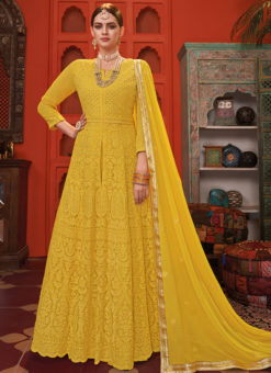 Attractive Yellow Georgette Embroidered Work Designer Anarkali Suit