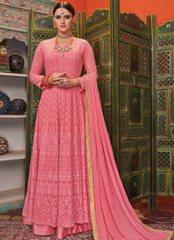 Lovely Pink Georgette Embroidered Work Designer Anarkali Suit