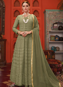 Graceful Green Georgette Embroidered Work Designer Anarkali Suit