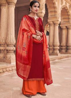 Maroon Satin Georgette And Silk Designer Palazzo Suit