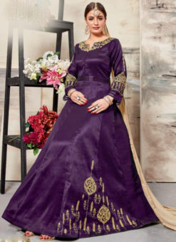Alluring Purpl Silk Embroidered Work Designer Anarkali Salwar Suit