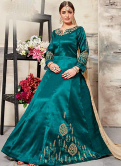 Elegant Green Silk Embroidered Work Designer Anarkali Salwar Suit