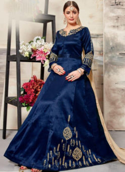 Lovely Blue Silk Embroidered Work Designer Anarkali Salwar Suit