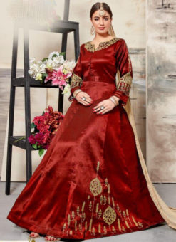 Glorious Red Silk Embroidered Work Designer Anarkali Salwar Suit