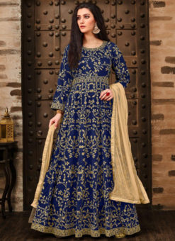 Elegant Blue Tapeta Silk Designer Anarkali Suit