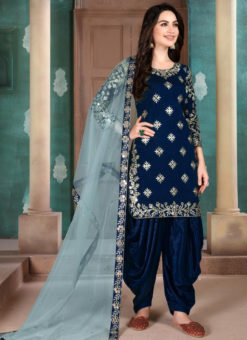Blue Art Silk Embroidered Work Designer Patiyala Salwar Suit