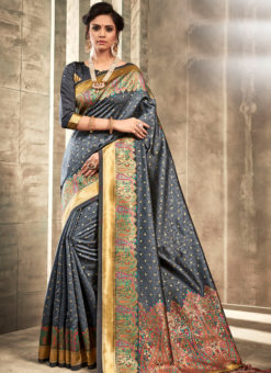 Elegant Black Silk Traditional Wear Saree