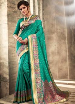 Graceful Green Silk Traditional Wear Saree