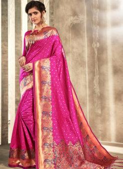 Amazing Pink Silk Traditional Wear Saree