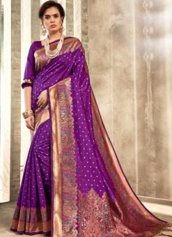 Lovely Purple Silk Traditional Wear Saree