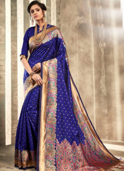Glorious Blue Silk Traditional Wear Saree
