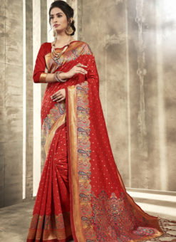 Excellent Red Silk Traditional Wear Saree