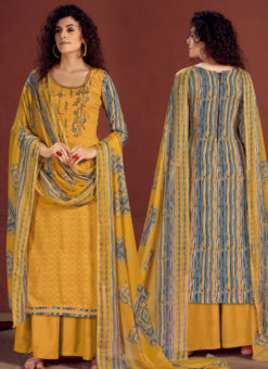 Yellow Readymade Party Wear Palazzo Salwar Suit