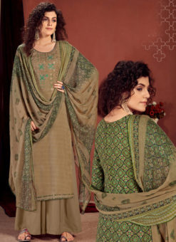 Beige Readymade Party Wear Palazzo Salwar Suit