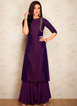 Purple Party Wear Designer Kurti With Bottom