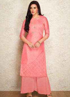 Pink Party Wear Designer Kurti With Bottom