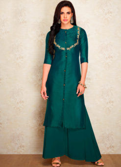 Green Party Wear Designer Kurti With Bottom