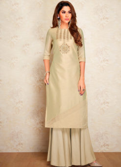 Beige Party Wear Designer Kurti With Bottom