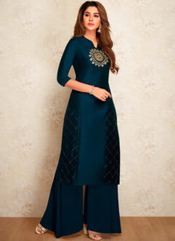 Navy Blue Party Wear Designer Kurti With Bottom
