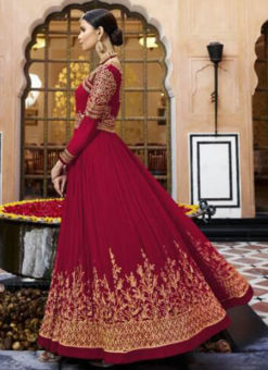 Jazzy Maroon Georgette Embroidered Work Anarkali Suit