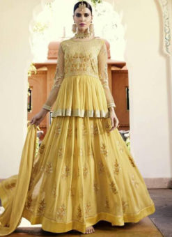 Alluring Yellow Georgette Embroidered Work Anarkali Suit