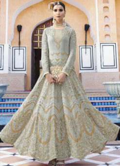 Lovely Grey Georgette Embroidered Work Anarkali Suit
