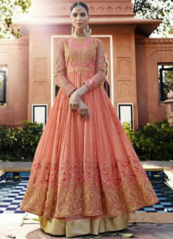Amazing Orange Georgette Embroidered Work Anarkali Suit