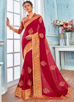 Traditional Maroon Designer Party Wear Georgette Saree