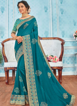 Traditional Blue Designer Party Wear Georgette Saree
