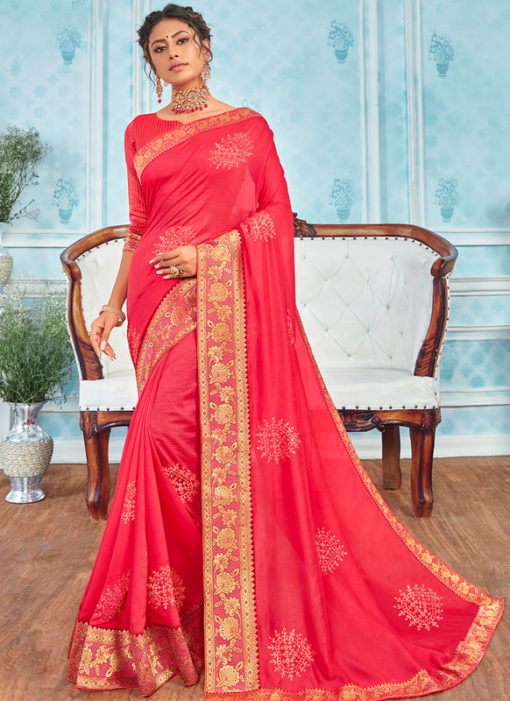 Traditional Pink Designer Party Wear Georgette Saree