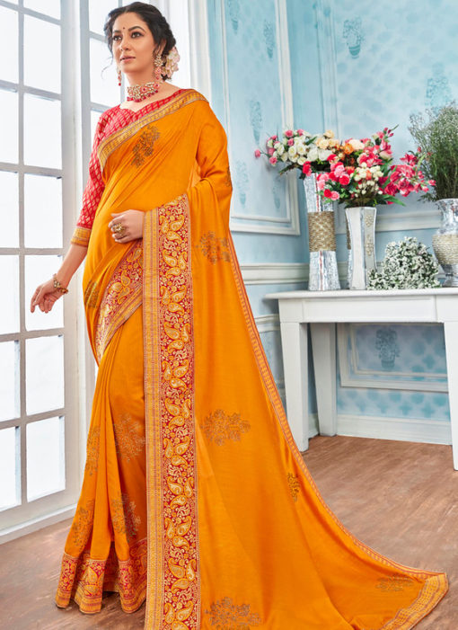 Traditional Yellow Designer Party Wear Georgette Saree