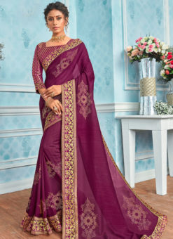 Traditional Purple Designer Party Wear Georgette Saree