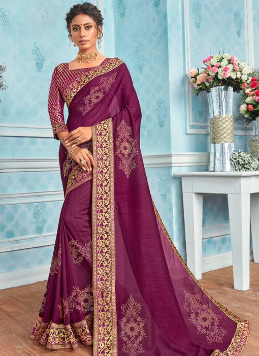 Traditional Purple Designer Party Wear Georgette Saree