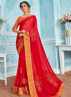 Traditional Red Designer Party Wear Georgette Saree