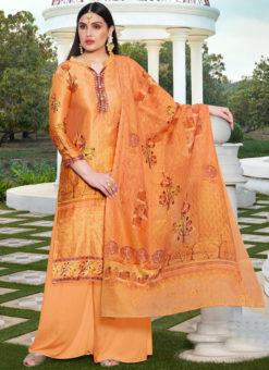 Orange Jam Cotton Printed Casual Wear Palazzo Suit