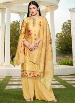 Yellow Jam Cotton Printed Casual Wear Palazzo Suit